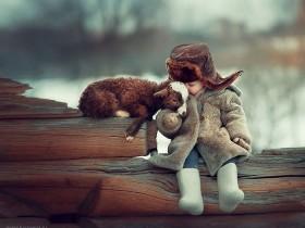满满都是爱,宝宝和野生动物摄影照片